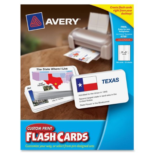 Avery Custom Print Flash Cards, 3 x 5 Inches, for Inkjet and Laser Printers, 100 Pack (04750) (Avery Custom Print Flash Cards compare prices)