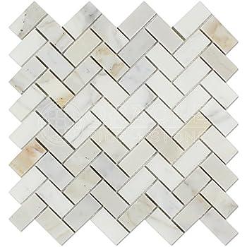 calacatta gold italian calcutta marble 1 x 2 herringbone mosaic tile honed