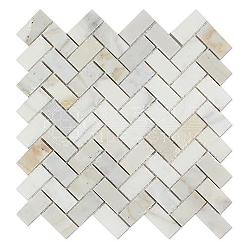 Calacatta Gold (Italian Calcutta) Marble 1 X 2 Herringbone Mosaic Tile, Polished