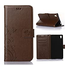 Sony Xperia Z5 Wallet Case, 5inch Samsung Sony Xperia Z5 Beautiful Case, Flower Butterfly Pattern Premium PU Leather Wallet Case with Wrist Strap Flip Case Cover (bark brown)