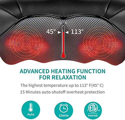 Shiatsu Neck and Back Massager with Soothing Heat, Nekteck Electric Deep Tissue 3D Kneading Massage Pillow for Shoulder, Leg, Body Muscle Pain Relief, Home, Office, and Car Use