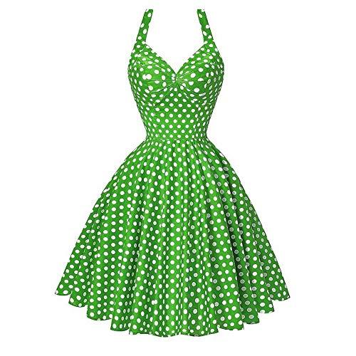 Women's Vintage Polka Dot Halter Dress 50's Party Theme Dress Afternoon Tea Dresses Summer -