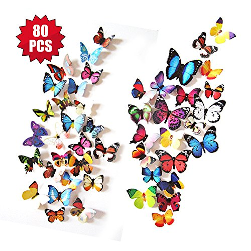 eoorau 80PCS 3D Butterfly Removable Mural Stickers Wall Stickers Decals Wall Decor Home Decor Kids Room Bedroom Decor Living Room Decor