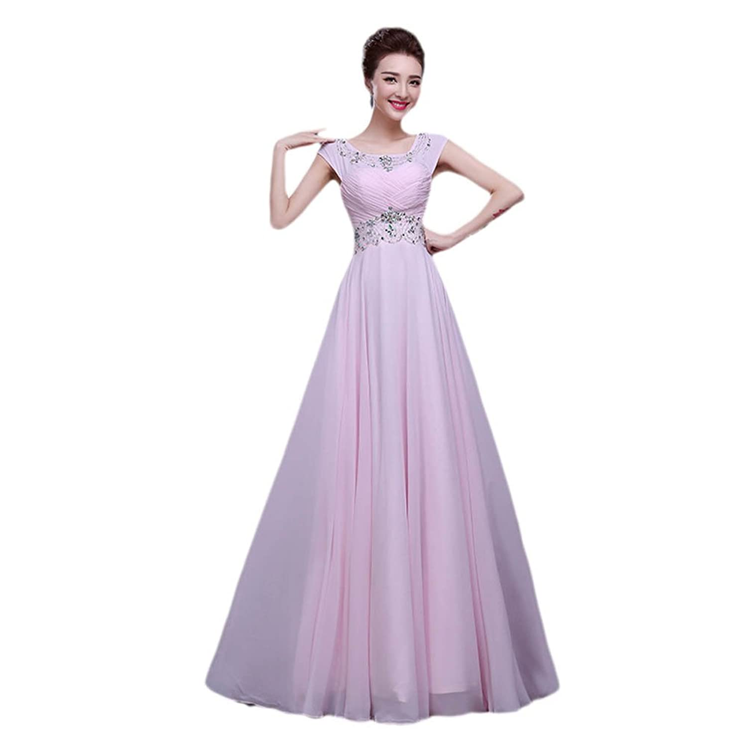 Vimans? Women's 2016 Long Pink Scoop Rhinestone Pleated Prom Evening Dresses
