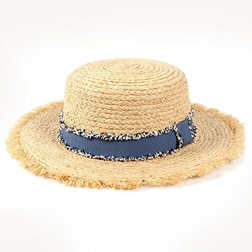 (Douhuayu0 Summer Raffia Beach Sun Hat Tassel Denim Ribbon Elegant Lady Women (Color : 1, Size : 56-58CM) )