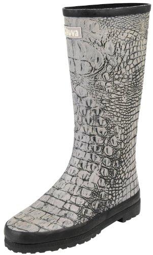 Chuva Damen Gummistiefel Snake schwarz/grau, in Schlangenlederoptik , aus Gummi gefertigt, rutschfeste Sohle, Baumwollfutter