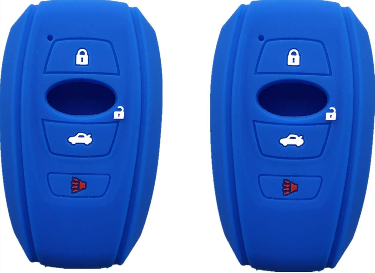 Silicone Smart Key Fob Covers Case Protector Keyless Remote Holder for Subaru Forester Sti Outback XV Crosstrek Impreza BRZ WRX Blue