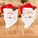 DAVID ROCCO Red White Santa Christmas Chair Cover