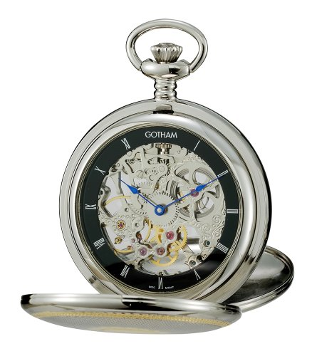 Gotham Men's Two-Tone Mechanical Pocket Watch with Desktop Stand # GWC18802TB-ST