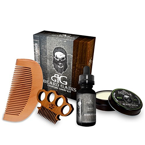 Beard Gains Pristine Every Day Carry Beard Care Kit - Beard Oil, Beard Balm Conditioner, Mustache Comb, Wooden Beard Comb (Best Grooming Kit For Mens India)