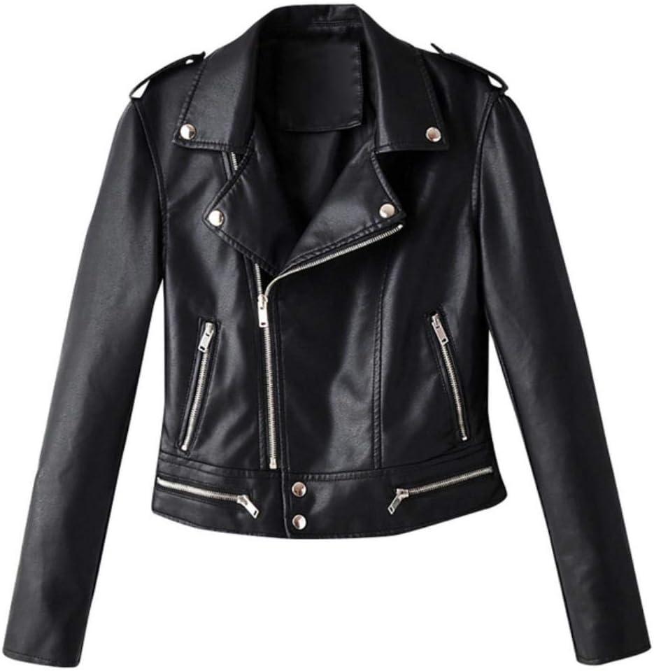 HSDFKD Chaqueta De Mujer Abrigo Otoño Invierno Zip Chaqueta De Motociclista Chaqueta De Cuero Corta Abrigo De Mujer Outwear