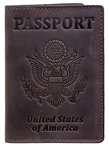 RFID Blocking US Passport Holder Cover Travel Wallet Organizer Case With Card Slots (Brown Vintage)