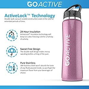 Stainless Steel Insulated Water Bottle with flip straw. H2O Sports drinking bottle is BPA Free, Eco Friendly, Good for Kids, and keeps ice over 24 hour