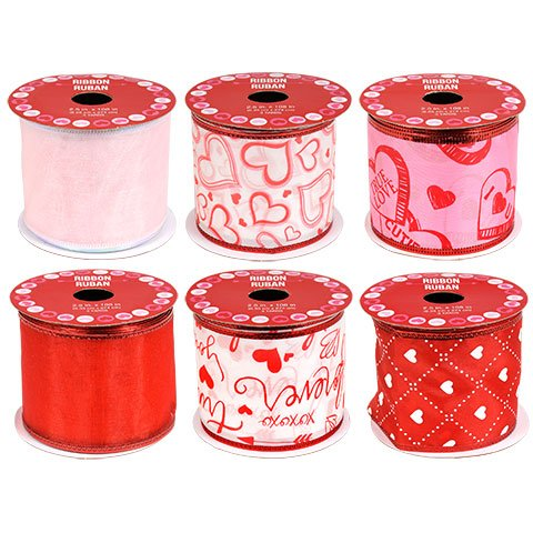 Wire Ribbon Spool (Valentine Ribbon With Wired Edges Bundle of 6, 3 Yard Spools (2.5 inches wide))