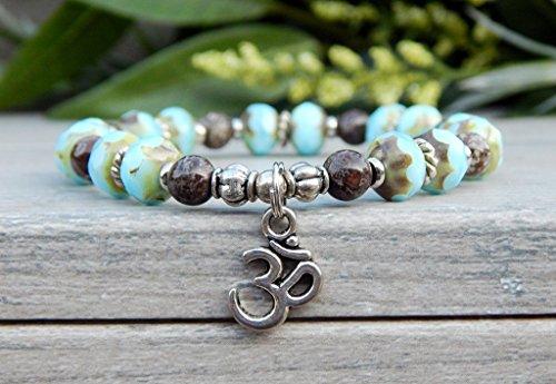 Beautiful Yoga Om Charm Meditation Mala Beaded Blue Bracelet Gift Yogi Bracelet