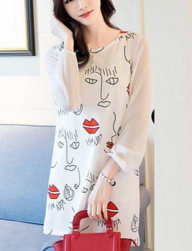 PU&PU Robe Aux femmes Trapèze Vintage,Mosaïque Col Arrondi Au dessus du genou Polyester / Spandex , white-m , white-m