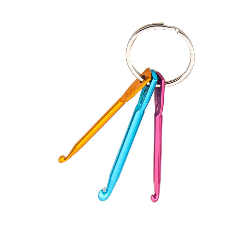Gift for world 3 Sizes/set Portable Keychain Hooks DIY Multicolour Crafts Knitting Needles Mini Aluminum Crochet Hook 3.0mm-5.0mm Small Hooks
