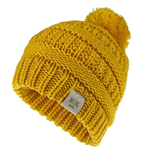 Toddler Kids Embroideried Wool Knit Beanie Hat,Crytech Soft Stretchy Plain Fine Knitted Cable Cuffed Skull Cap Trendy Cute Slouchy Warm Candy Color Snow Ski Hat for Children Boy and Girl (Yellow)
