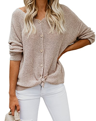 Womens Cardigans Casual Lightweight V Neck Long Sleeve Cardigan Sweaters with Buttons (Cardigan Juniors Sweater)