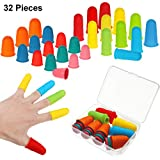 32 Pieces Rubber Finger Tips Silicone Finger Protectors Finger Cover Caps Finger Pads with Assorted Sizes for Counting Collating Writing Sorting Task Hot Glue Sewing and Sport Supplies