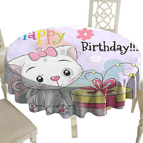 (WinfreyDecor Oil-Proof and Leak-Proof Tablecloth Greeting Birthday Card Cute Kitten with Gift Indoor Outdoor Camping Picnic D43)