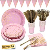 Pink and Gold Party Supplies Golden Dot Pink Themed Party Decoration Set Includes 7'&9' Paper Plates Napkins Knives Forks Cups Banner for Bachelorette, Girl Birthday, Baby Shower, Serves 24