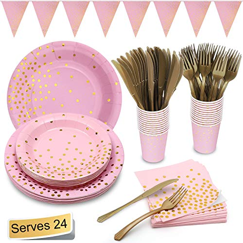 Pink and Gold Party Supplies Golden Dot Pink Themed Party Decoration Set Includes 7