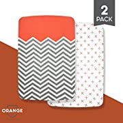 "Organic Cotton Crib Sheet Set: Standard Pack n Play Mattress Sheets (2 Pack) Baby Sheets for Playard, Soft Comfortable Unisex for Infants and Toddlers 39""x27""x5""! (Orange)"