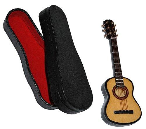 Unbekannt Miniatur Gitarre mit Kasten - Holz Maßstab 1:12 - dunkel braun Konzertgitarre Puppenhaus - Musikinstrument Musik Instrument Gitarrenkasten Kinder-Land