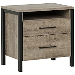Bedroom South Shore Munich 2-Drawer Nightstand, Weathered Oak and Matte Black with Metal Handles farmhouse nightstands