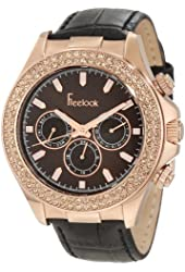 Freelook Women's HA6306RG-2 Black Leather Band Sunray Brown Chronograph Dial Rose Gold Case Watch