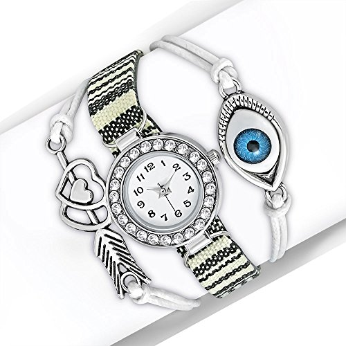 My Daily Styles Fashion Alloy CZ Black White Love Heart Evil Eye Wrist Watch, 8.5'' by My Daily Styles