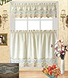 Fancy Kitchen Window Curtains Fancy Collection 3pc White with Embroidery Floral Kitchen/cafe Curtain Tier and Valance Set 001092 (60
