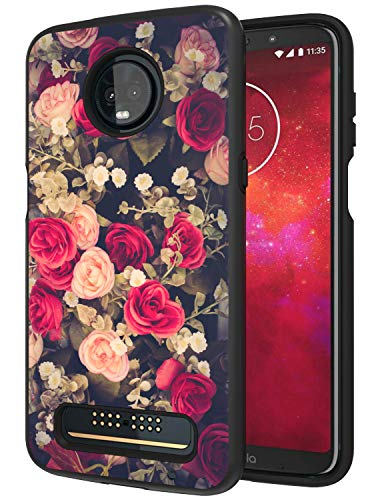 Moto Z3 Case, Moto Z3 Play Case, ANLI [Fashion Flowers Design] Drop Protection Hybrid Dual Layer Armor Protective Case Cover Compatible with Motorola Moto Z3 for Girls and Women 2018 Released Black