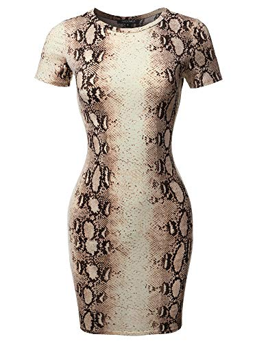 Casucal Printed Sexy Body-con Mini Dress - Made in USA Brown Snake XL ()