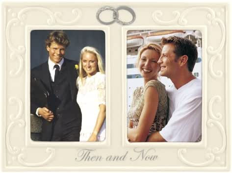 Malden International Designs Glazed Ceramic With Silver Accents And Jewels Double Interlocking Rings Then and Now Anniversary Picture Frame, 2 Option, 2-3.5x5, White