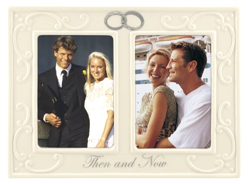 - Malden International Designs Glazed Ceramic With Silver Accents And Jewels Double Interlocking Rings Then and Now Anniversary Picture Frame, 2 Option, 2-3.5x5, White