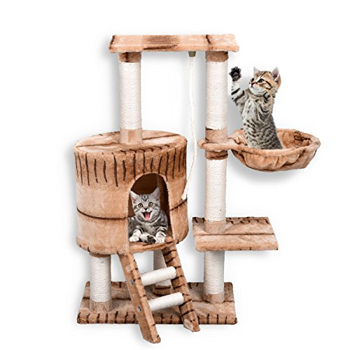 Helpful FirstWell Cat Tree Condo Tower with Scratching Posts Kitty Trees House Bed Furniture for Kittens 38 inches Tiger Stripe PCT012 ✈