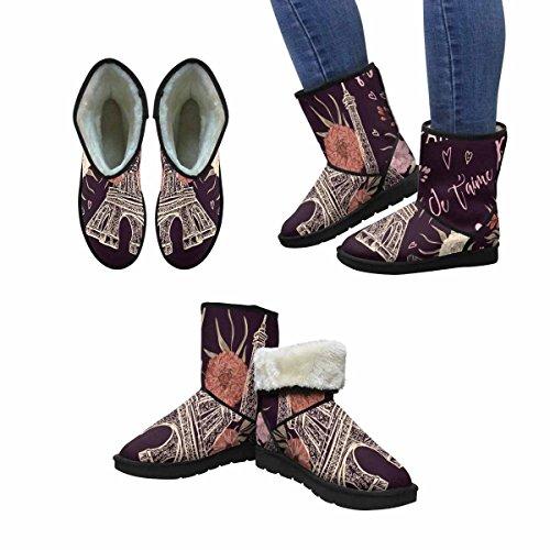 Snow Boots Da Donna Di Interestprint Parigi Vintage Torre Eiffel, Cuori E Stivali Invernali Comfort Dal Design Unico E Floreale Multi 1
