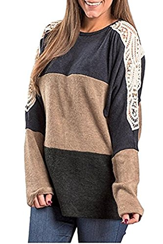 Cheap Kool Classic Womens Casual Color Block Long Sleeve Crewneck Blouse supplier