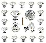 25 pcs Crystal Glass Knobs Drawer Pulls for Kitchen Bathroom Cabinet, Dresser and Cupboard by DeElf