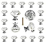 kitchen cabinet knobs crystal - 25 pcs Crystal Glass Knobs Drawer Pulls for Kitchen Bathroom Cabinet, Dresser and Cupboard by DeElf