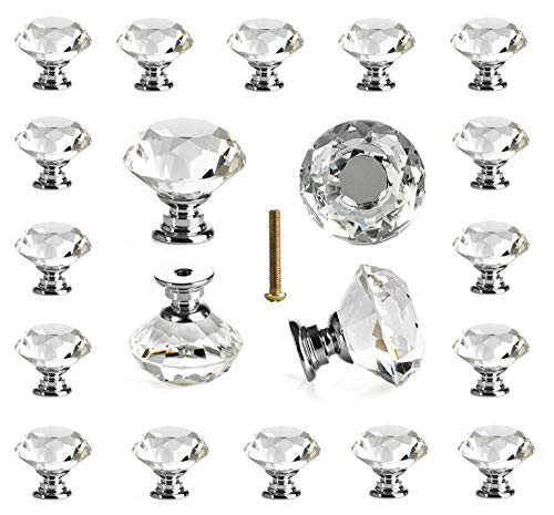 25 pcs Glass Cabinet Knobs Crystal Drawer Pulls Clear 30 mm Diamond for Kitchen, Bathroom Cabinet, Dresser and Cupboard by DeElf (Knobs Glass Small)