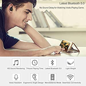 Wireless Bluetooth Earbuds,ANROOG A8 Latest TWS Bluetooth 5.0 True Wireless Earbuds 35H Playtime 3D Stereo Sound Wireless Headphones,Built-in Microphone,Gift Box from anroog