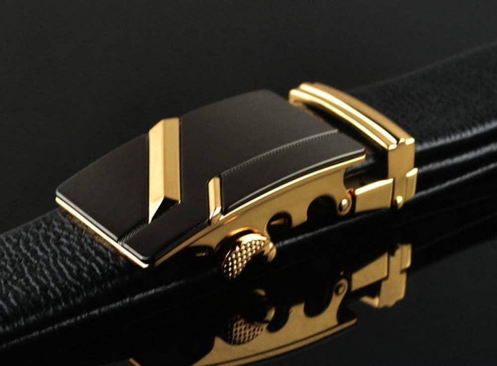 DENGDAI Mens Automatic Buckle Belt Mens Leather Belt