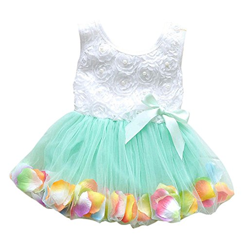 [EFINNY Toddler baby Girls Lace Bow Flower Petal Dress Pageant Party Tutu Dress] (Baby Easter Dresses)