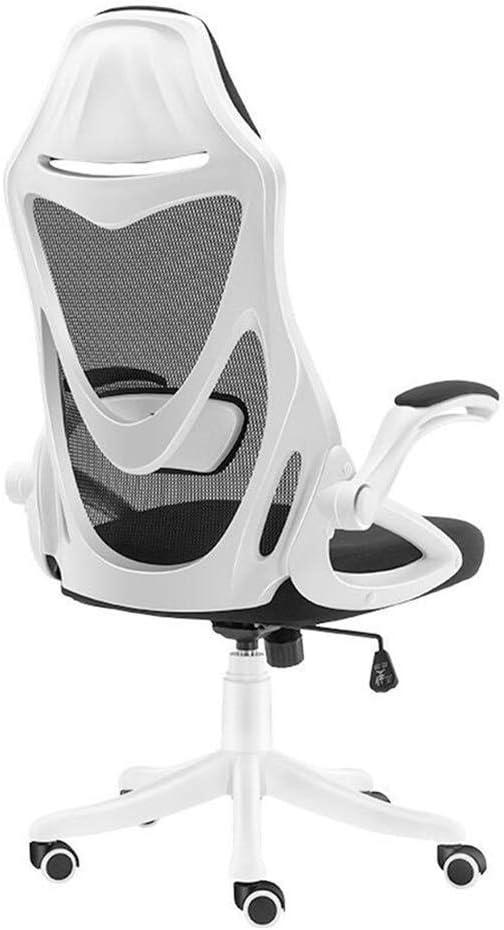 人間工学に基づいた回転オフィスチェア、ヘッドレスト調節可能なアームレスト腰椎サポートコンピューターホームバックレストチェア (Color : White)