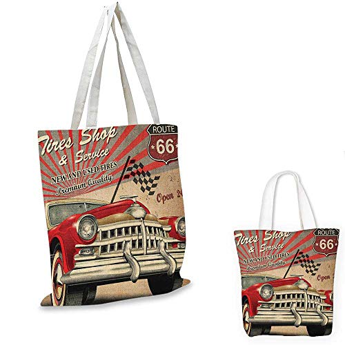 Cars canvas messenger bag Tires Shop and Service Route 66 Emblem Advertisement Retro Style Poster Print canvas beach bag Red Grey Sepia. 16