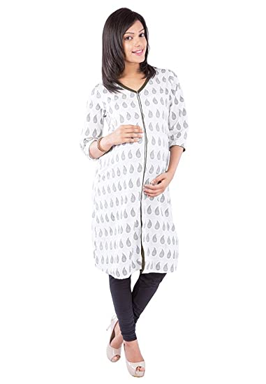 e545153c801b Morph Maternity - White Printed Nursing kameez Maternity Wear Pregnancy Wear  Nursing Wear Feeding Kameez With Zip (Small)  Amazon.in  Clothing    Accessories