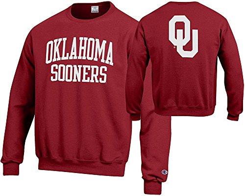 Elite Fan Shop Oklahoma Sooners Crewneck Sweatshirt Back Crimson - L (Oklahoma Crew Sweatshirt)